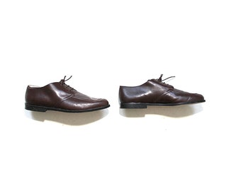 Vintage Leather Oxfords 8.5 / Brown Leather Oxfords / Lace Up Brogues