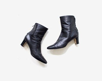 Vintage Ankle Boots 7 / Brown Leather Boots / Zip Up Boots / Ankle Boots Women