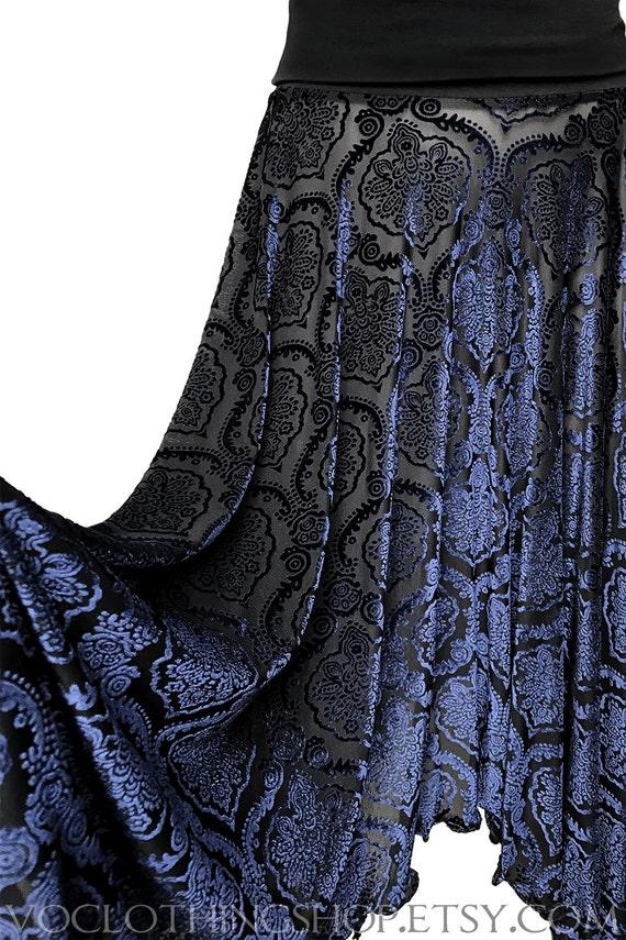 OOAK MIDNIGHT BLUE velvet burnout maxi skirt - ready to ship - size small