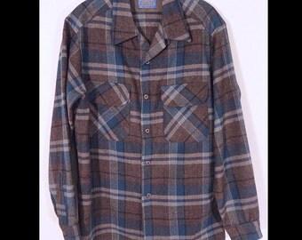 1950s Pendleton Mens Plaid Wool Shirt Flap Pocket Top Loop 50s Shirt M