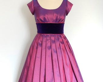 UK Size 14 Magenta Taffeta & Purple Velvet Prom Dress - made by Dig For Victory