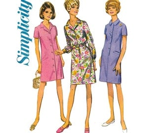 70s Half Size Shirtdress Pattern Simplicity 7729 Vintage Sewing Pattern Size 12 1/2 Bust 35 inches