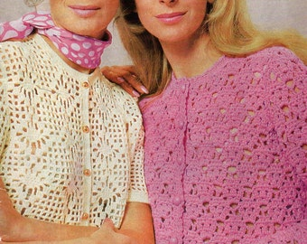 70s Crochet Patterns Booklet Vintage Womens Hippie Vests Jackets Cardigans Patons 943 ORIGINALS NOT PDF