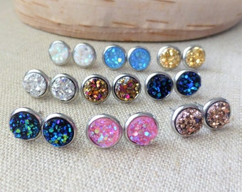 Druzy Earrings, Druzy Stud Earrings, One(1) Pair, You Choose Color, 10mm Faux Drusy Stainless Steel Round Stud Earrings, Small, Gift For Her