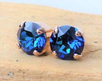 Bermuda Blue Swarovski Stud Earrings, Crystal Rhinestone Rose Gold Studs, Rose Gold Round, Diamond Cut, Gift for Her, Bridesmaid Gifts