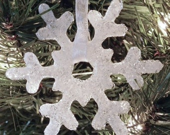 Snowflake Clear Glass Christmas Ornament
