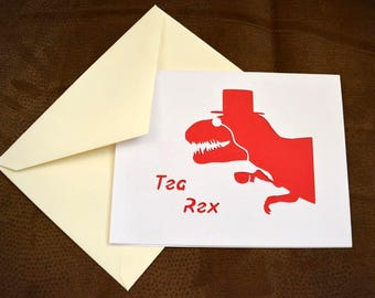 Tea Rex Dinosaur Greeting Card   Funny Greeting Cards   Handmade Cards   For All Occasions   Dinosaur Party   Just Because