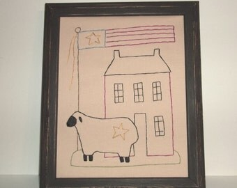 """UNFRAMED Primitive Saltbox Americana Stitchery Picture Stitched 8x10"""" Embroidery Sheep Flag Patriotic Country Home House Decor wvluckygirl"""