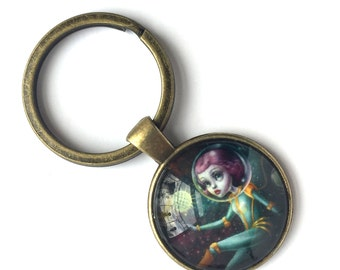 Holiday Special - Keychain - Spiral Galaxy - special edition printed cameo key chain by Mab Graves