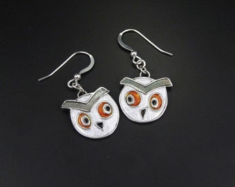 Silver and Enamel Owl Earrings. What a Hoot! Handmade. Sterling Silver Ear Wires