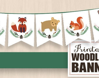 WOODLAND Party Banner with Fox, Deer, Bear, Squirrel, and Rabbit - Instant Printable PDF Download