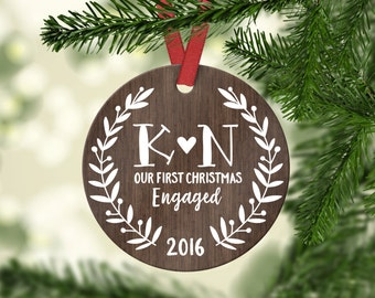 Engagement Gift Engagement Gifts for Couple Engagement Gifts for Her Engagement Ornament First Christmas Engaged Ornament Christmas Ornament