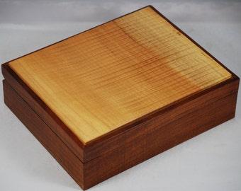 "Impressive Quilted Maple and Walnut Jewelry Box.10"" x8"" x 3"""