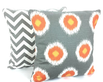 Orange Gray Pillow Covers, Decorative Throw Pillow, Cushions, Grey Orange White Chevron Zig Zag Domino, Couch Bed  Set of Two Various Sizes