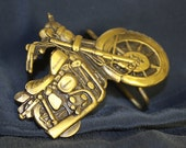 Motorcycle Vintage Belt Buckle 1970s Made in USA Motorcycles Brass Detailed smaller with Harley Davidson written on the tank Very retro