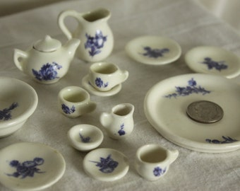 Dining Tea Set Miniatures 15 piece for dollhouses decor for playhouses Glazed ceramic White Blue Very Tiny Platter Teapot Cups Pitcher