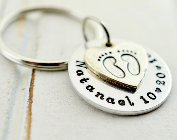 Baby Footprint Keychain, Gift For Mom, Mothers Keychain, Mom Keychain, New Baby Keychain, Mommy Keychain, Gift for Mom, New Arrival Keychain
