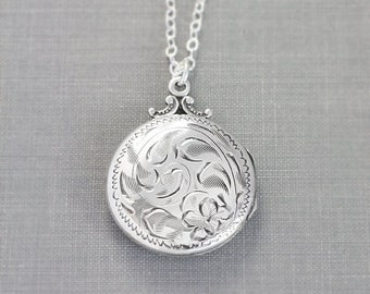 Birks Sterling Silver Locket Necklace, Small Round Vintage Sterling Floral Swirl Engraved Pendant - Nostalgia