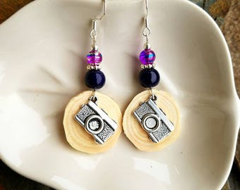 Purple Camera and Montana Blue Pine Sterling Silver Earrings, Purple Camera Pine Tree Earrings, Pine Purple Camera Sterling Silver Earrings