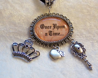 Fairy Tale Once Upon A Time, Snow White, Queens Crown, Apple, Looking Mirror, Bronze Chain and Charms Necklace