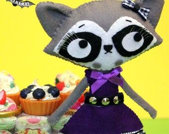 Felt raccoon punk girl handmade ooak art doll decoration RACCOORAL