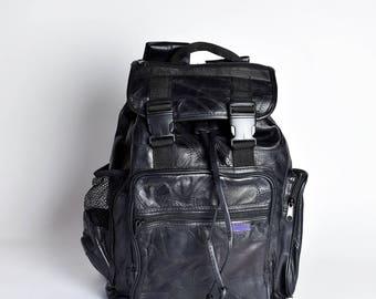 Black Patchwork Leather Backpack