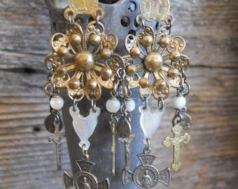 Blessings          French Religious Medal Chandelier Assemblage Earrings
