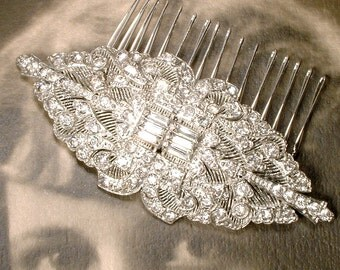 ANTIQUE Art Nouveau Sash Brooch / Hair Comb, Art Deco Vintage Rhinestone Large Bridal Dress Accessory 1920 1930 Wedding Hairpiece Edwardian