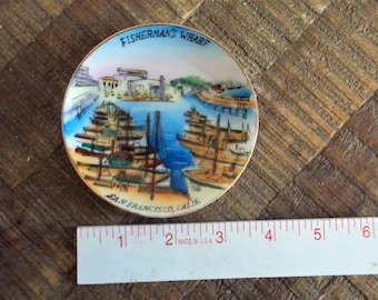 "Vintage Fisherman's Wharf San Francisco 4"" Souvenir Mini Plate"