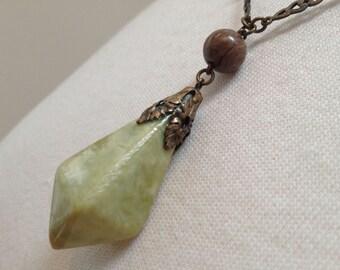 Early Plastic Deco Pendant Necklace – 1920s Vintage Jewelry