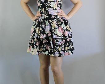 80s Summer Dress, Short Dress, Sexy Dress, Ruffled Skirt, Mini, Sleeveless, Festival, Floral, Black, Wedding Guest, Size Small,FREE SHIPPING