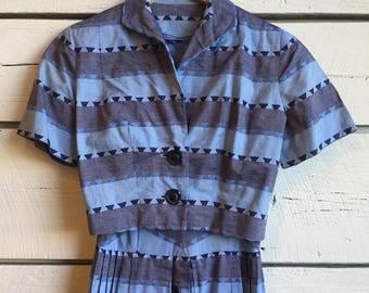 Vintage 1950s blue chevron dress • two piece set • 50s cotton dress