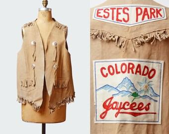 Vintage 70s LEATHER Fringe VEST / 1970s Boho Colorado Estes Park Souvenir Patchwork Suede Jacket OOAK L