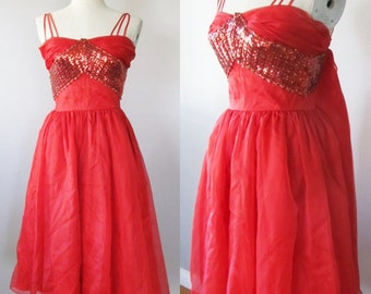 """Vintage 1950's Lipstick Red Party Dress / Cupcake Red Sequin Bombshell Cocktail Prom Dress / Size Small 32"""" inch Bust"""