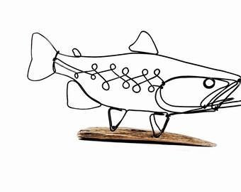 Trout Wire Sculpture, Fish Wire Art, Minimal Wire Design, 489071786