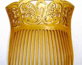 Victorian hair comb amber celluloid hair jewelry headpiece headdress decorative comb hair accessory