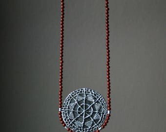 Lacey necklace - sterling silver lace cast, agate drop and terracotta jade beads