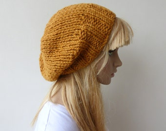 Mustard Knit Hat Yellow Slouchy Yellow beanie Womens Chunky Knit slouch hat Mens knit hat