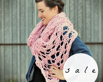 SALE | LAST ONE! | The Wisteria Wrap in Blossom | Chunky Knit Oversized Winter Wrap Scarf