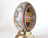 Blue Pysanka with Cross Ukrainian Easter egg pysanka chicken egg shell hand painted traditional orthodox Christmas gifts for family members