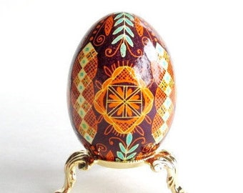 gift for mom who loves Easter and Christmas this ornament she would love all year around Pysanka egg on chicken egg shell Ukrainian eggs