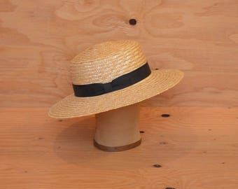 Vintage Blonde Straw Hat With Black Band Perfect For Canoeing & Strolling In the Park  SZ  Medium