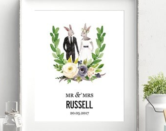 Illustrated Personalized Wedding Print - Hares. Medium sized poster print A3