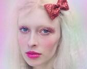 Red Glitter Hair Bow, Sparkly Glitter Bow, Party Hair Bow, Christmas Hair Accessory, Zoella Hair Bow