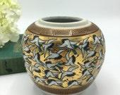 Vintage Asian Vase, Gold Metallic, Flying Birds, Small Round Japanese Ceramic Vase