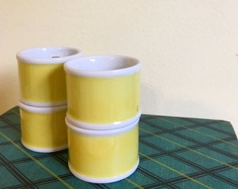 Yellow and White Ceramic Napkin Rings/ Holders in Box, Fitz & Floyd, Set of 4