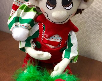 Red and Green plush Christmas elf doll