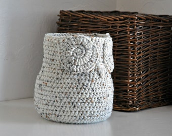 Oatmeal Owl Basket Crocheted Bin Yarn Holder Woodland Nursery Decor Rustic Home Organizer