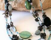 Lava, Smoky Quartz, Natural Shell, Hematite, Multistrand Statement Necklace