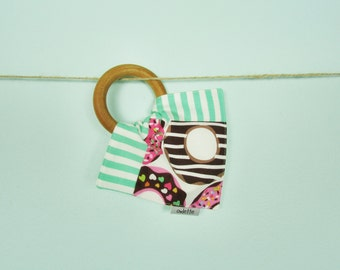 Owlette Doughnut Teething Ring with Handkerchief, Wooden Teething Toy